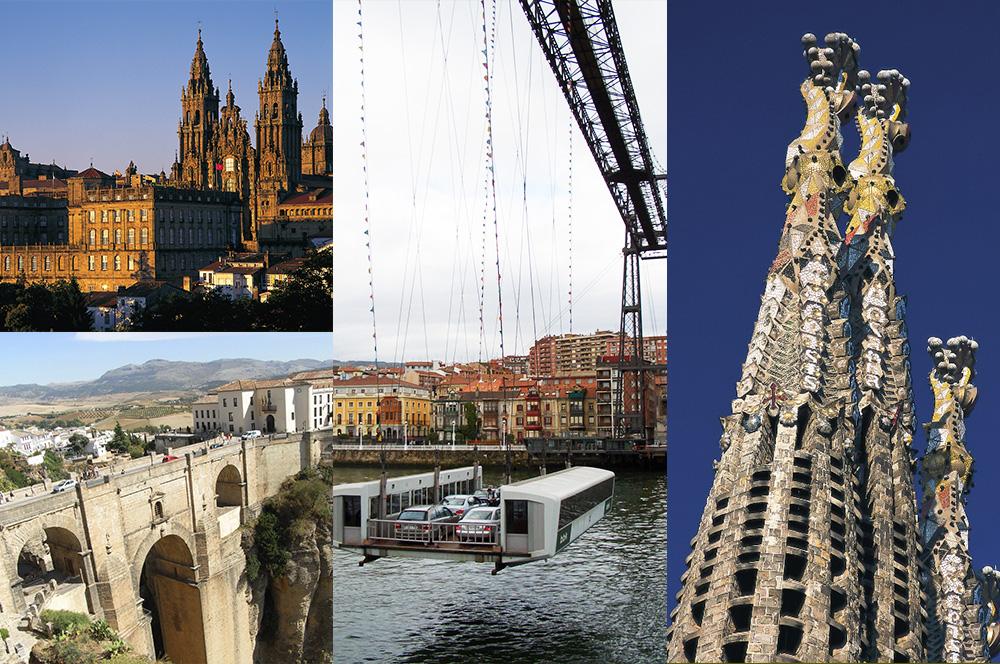 サンティアゴ・デ・コンポステーラ(上段左)/ロンダ(下段左)/ビルバオのビスカヤ橋(中央)/ガウディ建築群の聖家族教会(右)*写真は全てイメージ