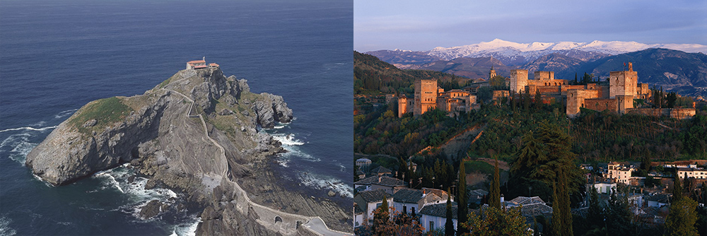 サン・ファン・デ・ガステルガチェ(左)/アルハンブラ宮殿全景(右)*写真は全てイメージ